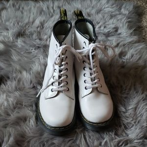 White Combat Boots -- size 9